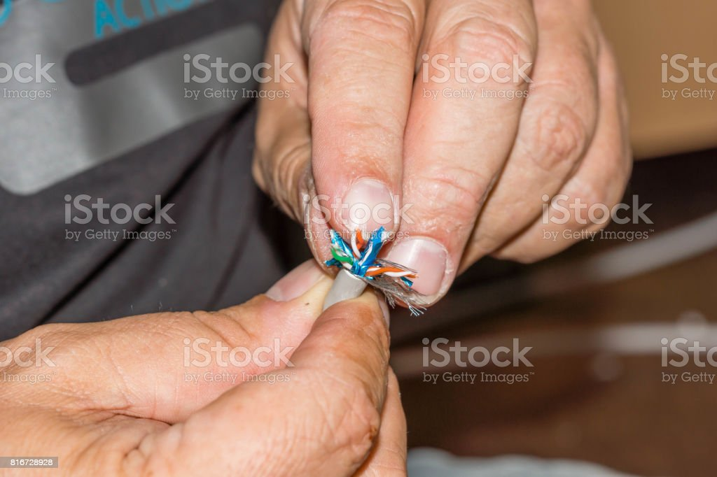 LAN cable preparation stock photo