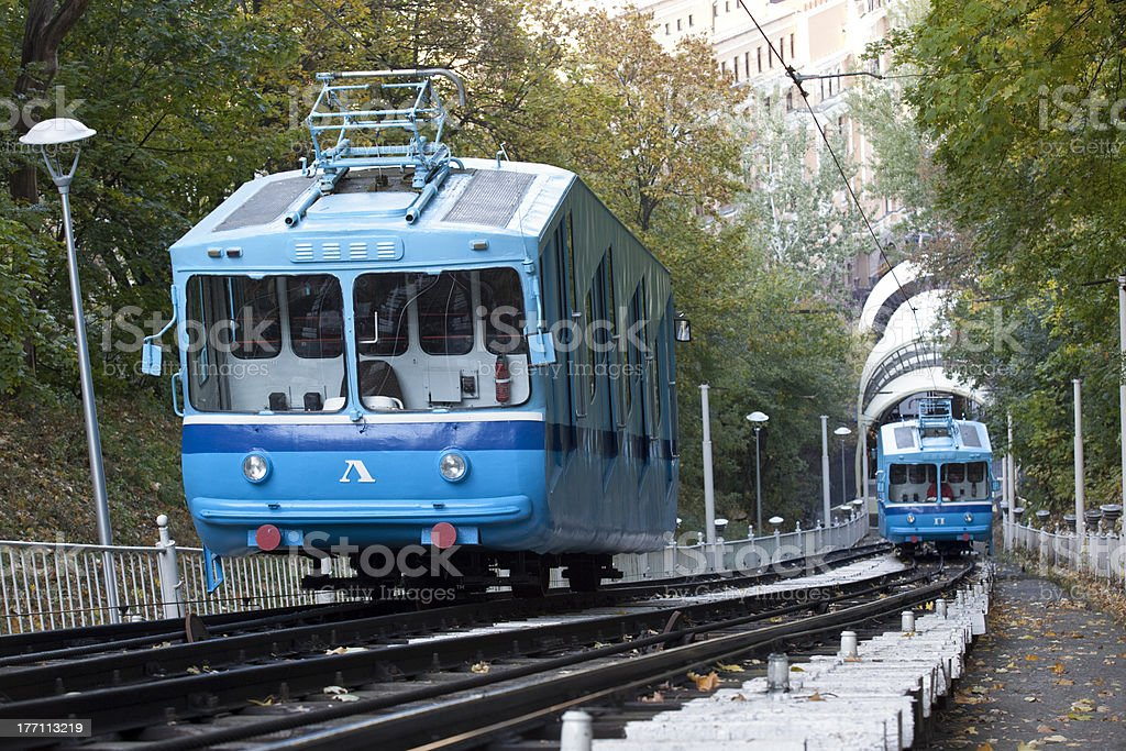 Cable railway in Kyiv. stock photo