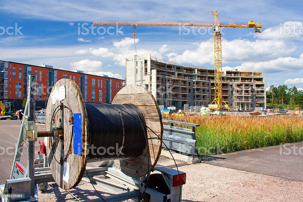 Cable reel in construction site royalty-free stock photo