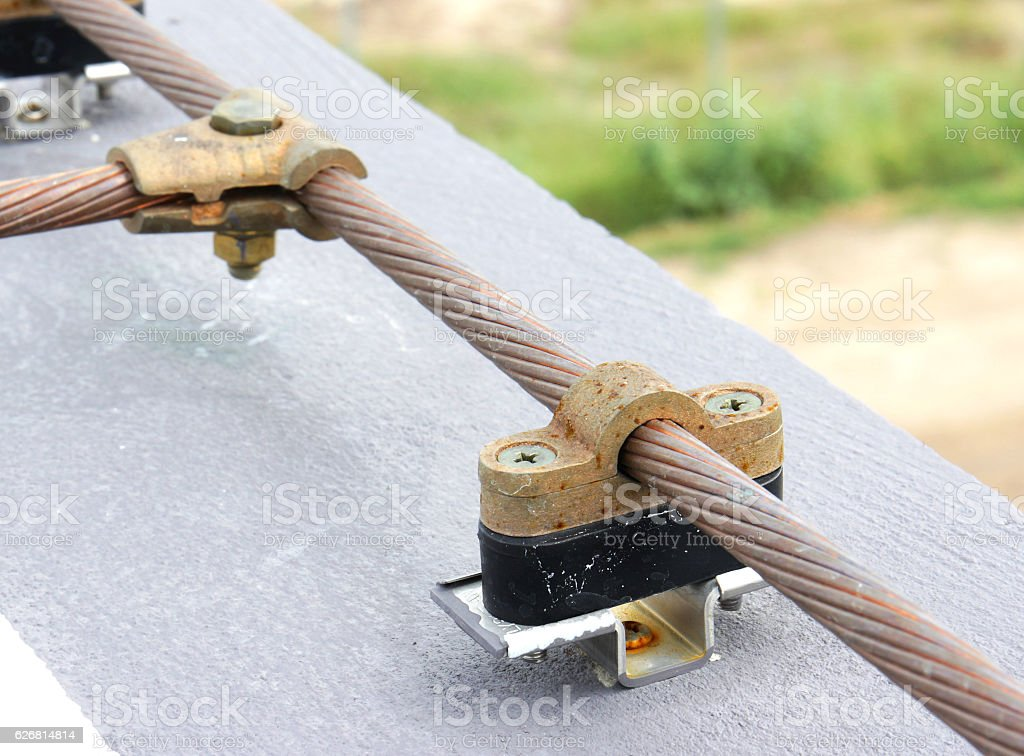 Cable Saddle of Lightning Protection stock photo