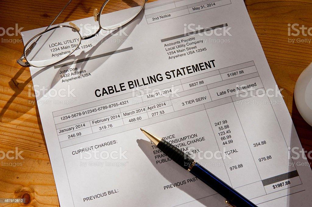 Cable Service Bill Invoice stock photo