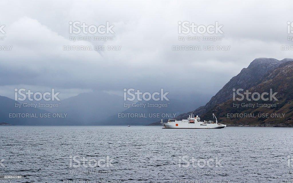 Cable ship at Scotland coast stock photo