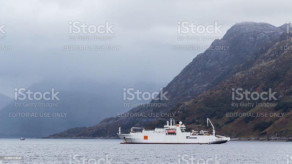 Cable ship on Scotland shores stock photo