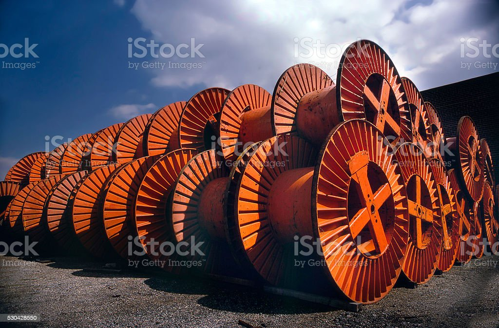cable spools stock photo