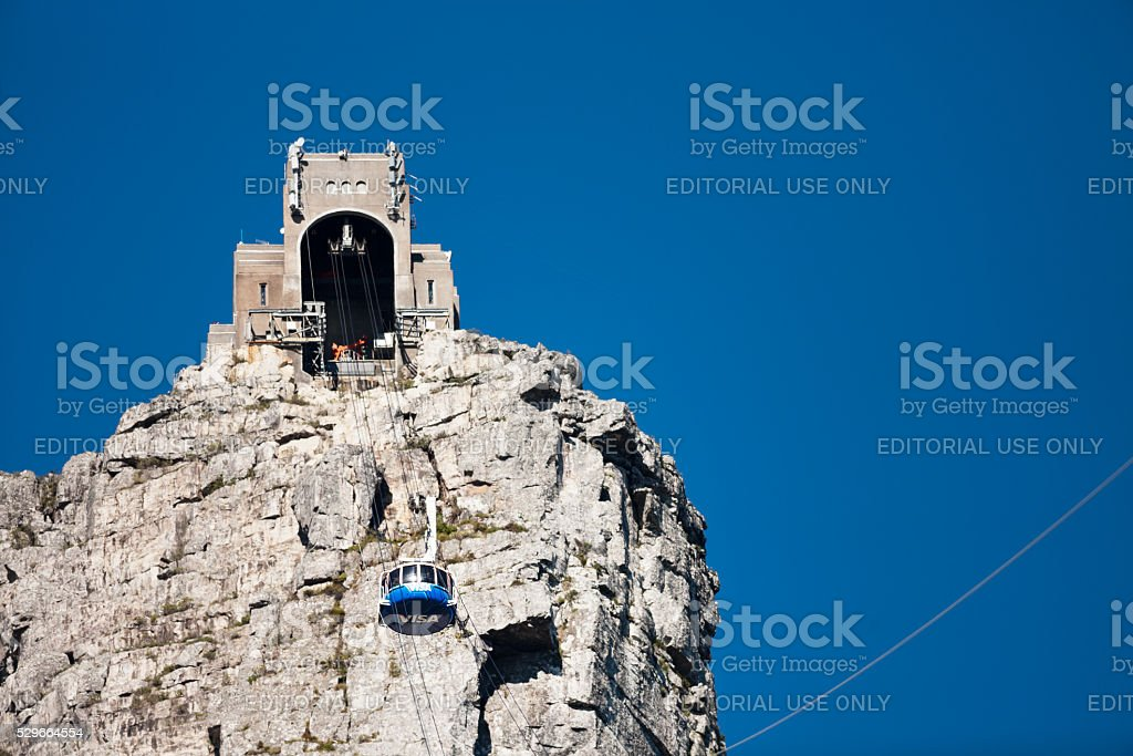 Cable station on top of Table Mountain: cable car approaching stock photo