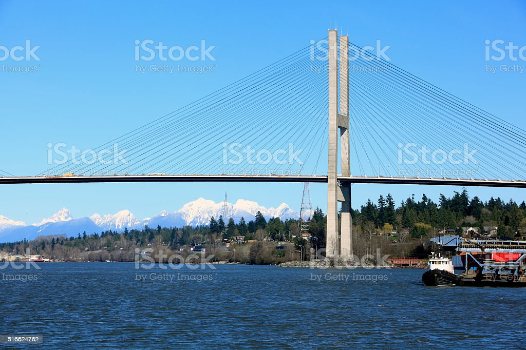 Cable Stayed Alex Fraser Bridge Spanning The Fraser River stock photo