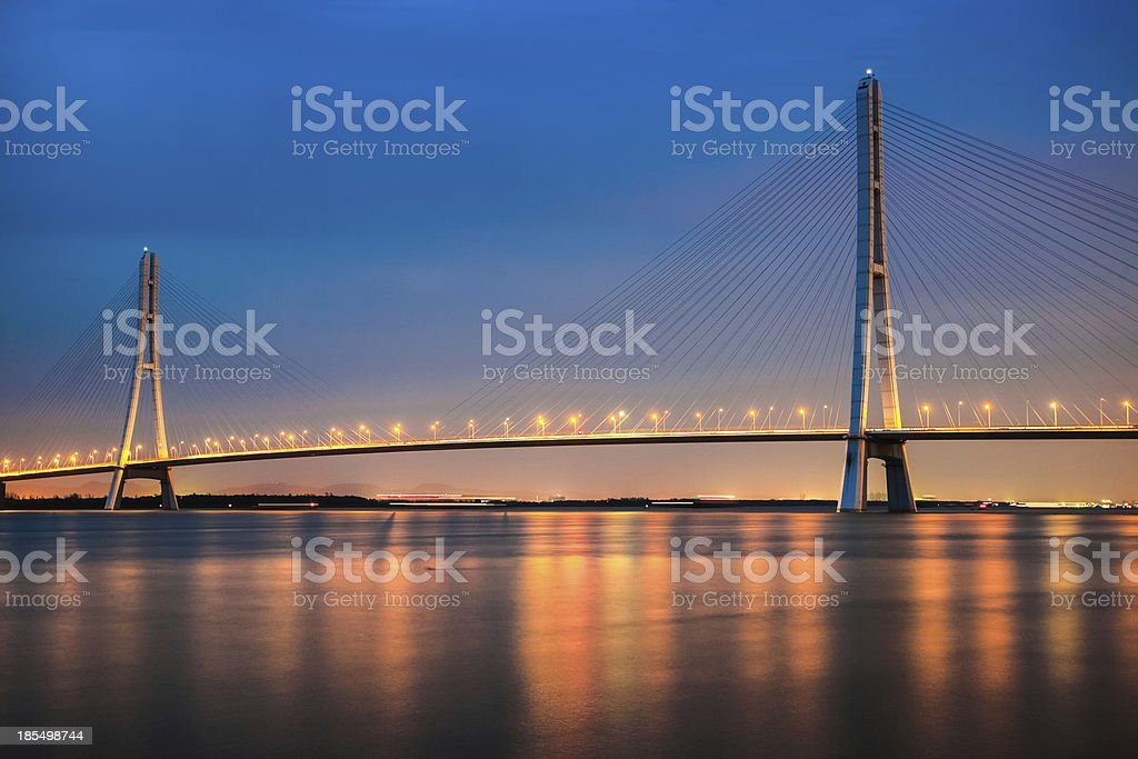 cable stayed bridge at night royalty-free stock photo