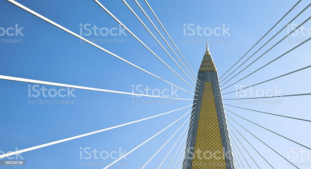cable stayed bridge in bangkok royalty-free stock photo
