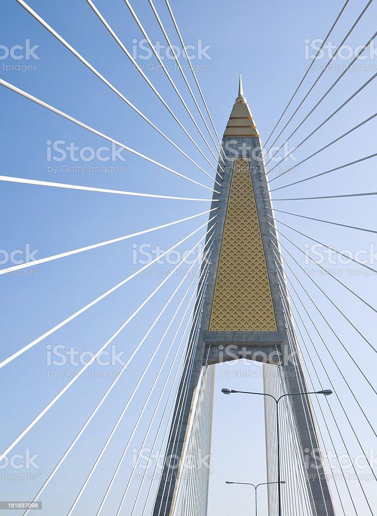 cable stayed bridge in bangkok royalty-free stock photo