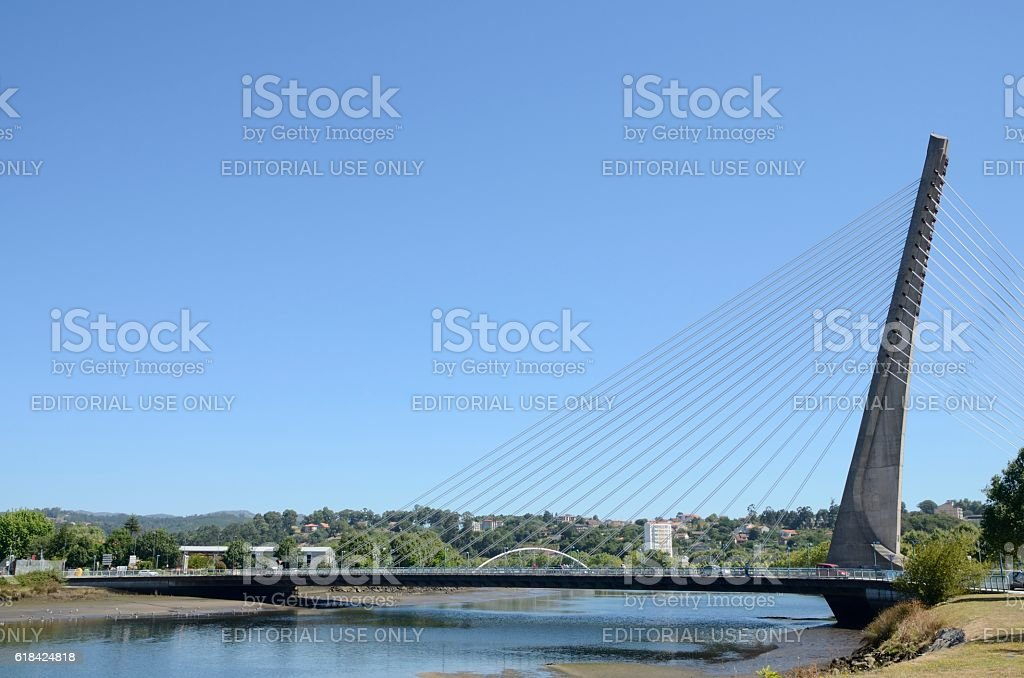 Cable stayed bridge over the river stock photo