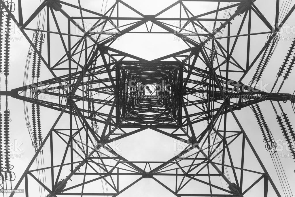 Upward view of cable tower in Hong Kong
