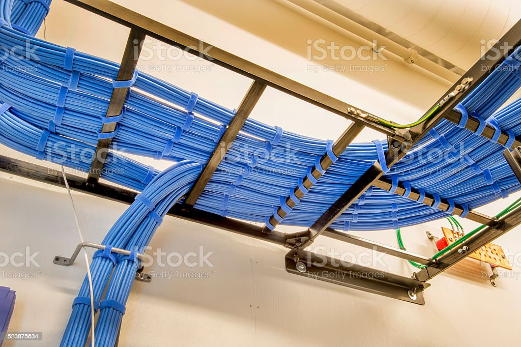 Cable Trays with server Wiring stock photo