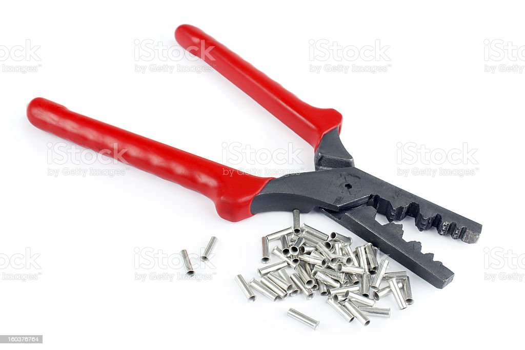 Cable tube terminals, and scrimping pliers royalty-free stock photo