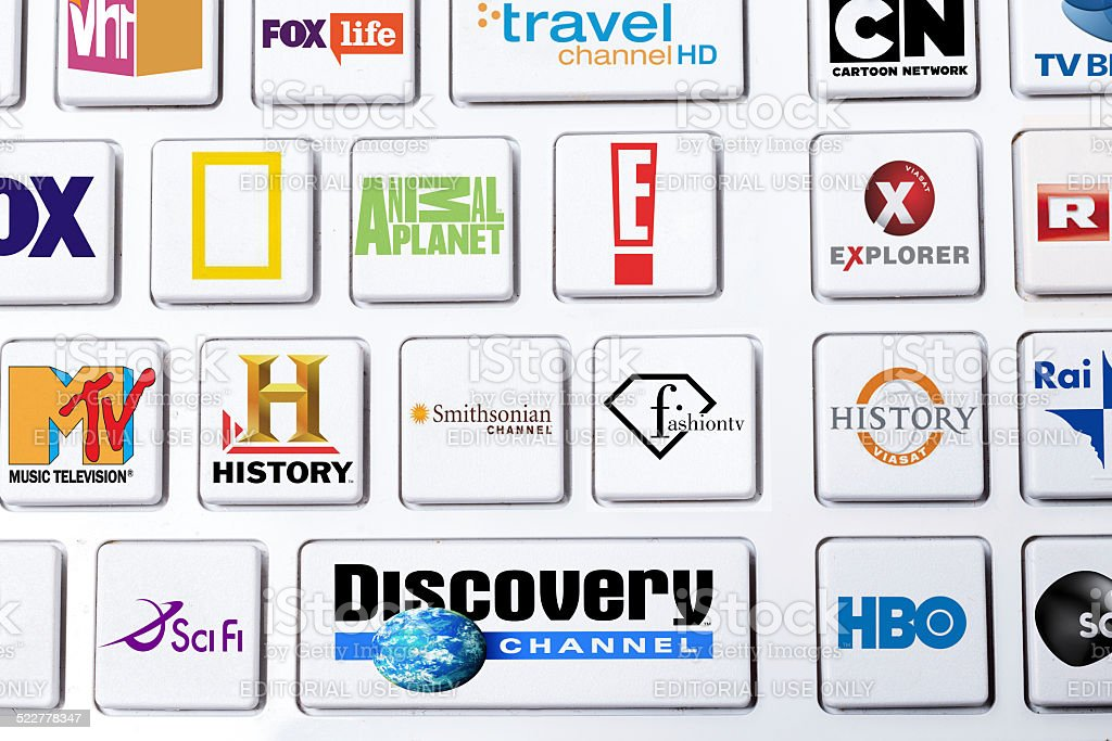 Cable TV selection of globally famous channels on keyboard stock photo