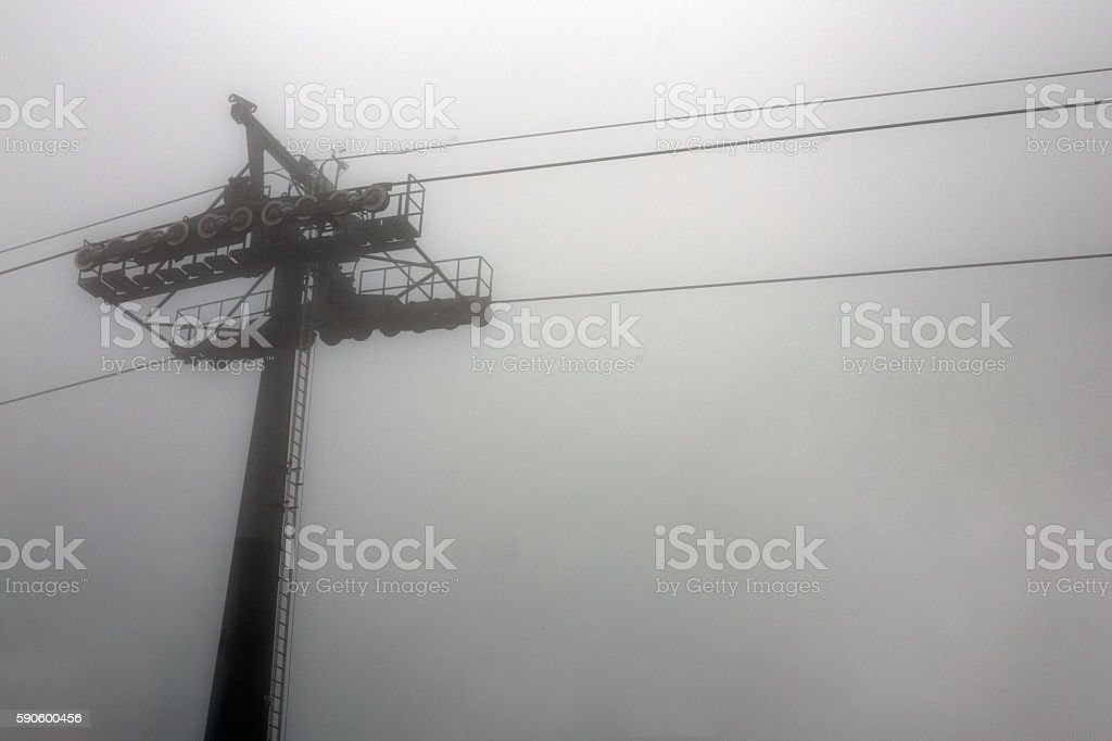 cable way in mist white background stock photo