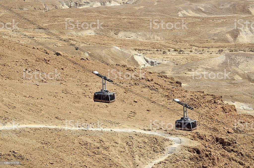 Cable way on Masada stronghold, Israel. royalty-free stock photo