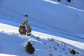 Cable way or ski lift in mountain ski resort  Kazakhstan