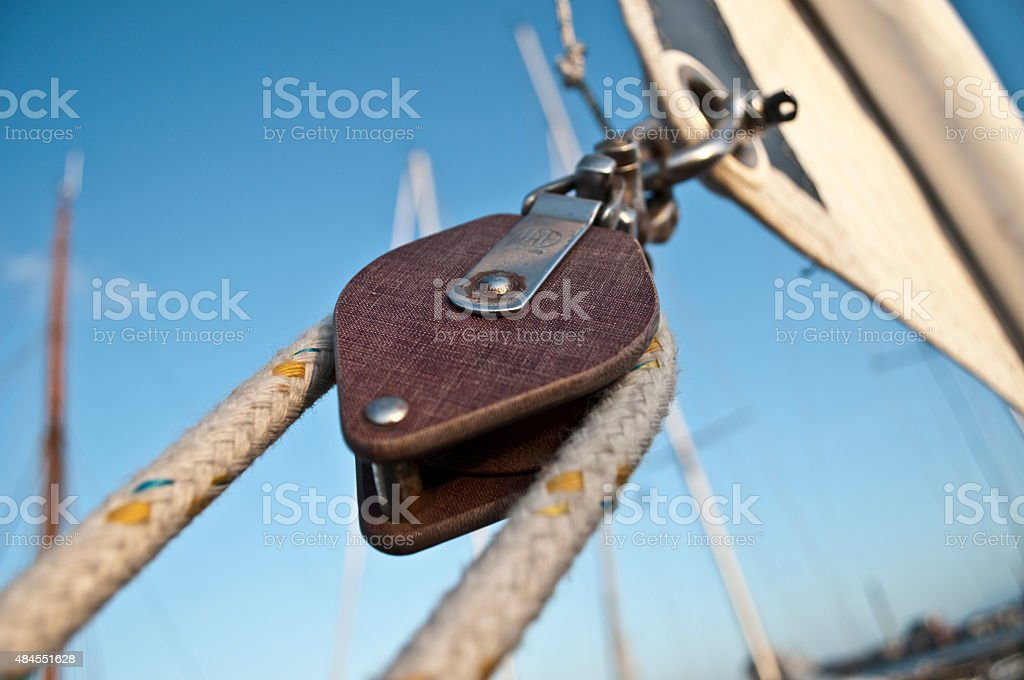 Cable winch Sailboat stock photo