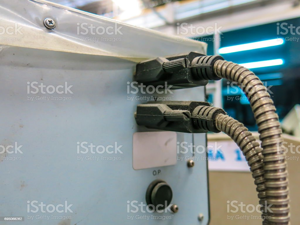 Cable wire plug panel stock photo