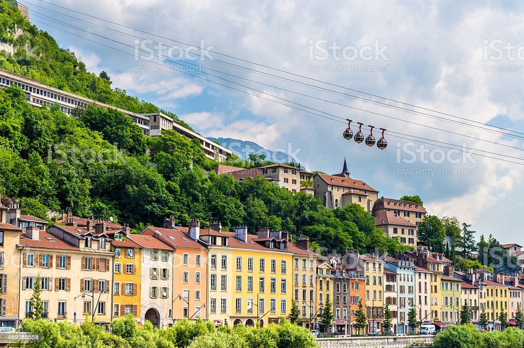 Cable-car leading to the stronghold Bastille in Grenoble stock photo