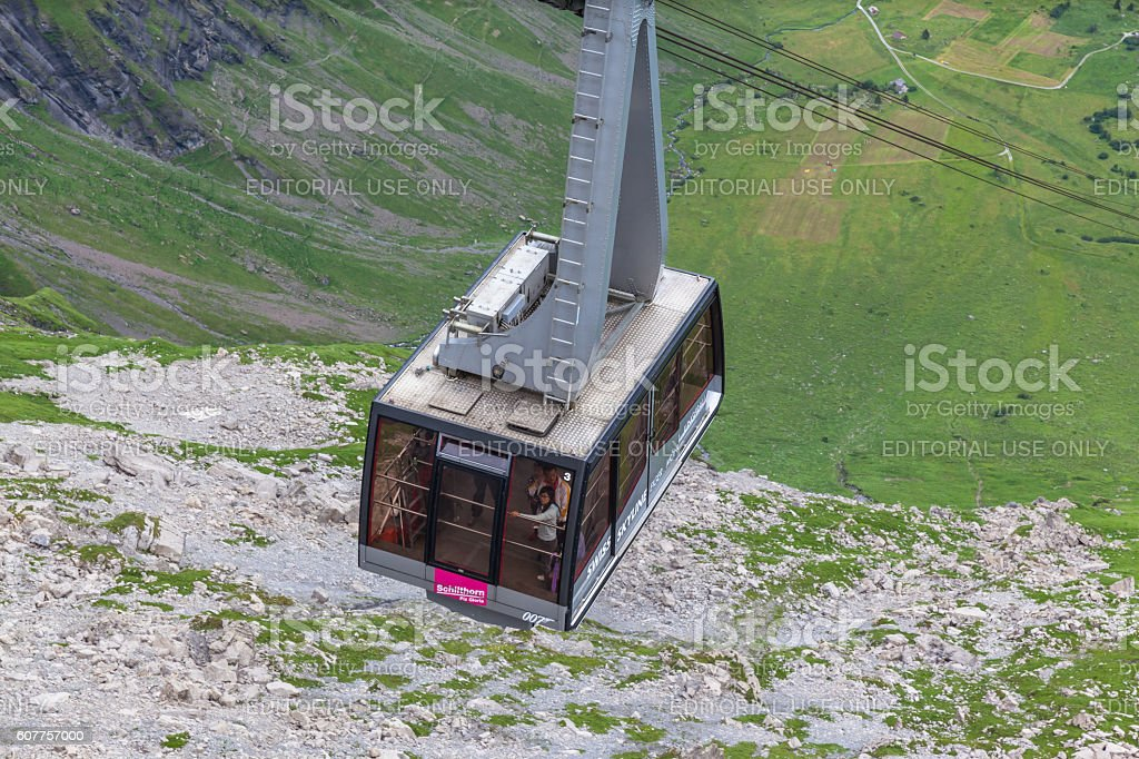 Cablecar to Schilthorn  in Jungfrau region stock photo