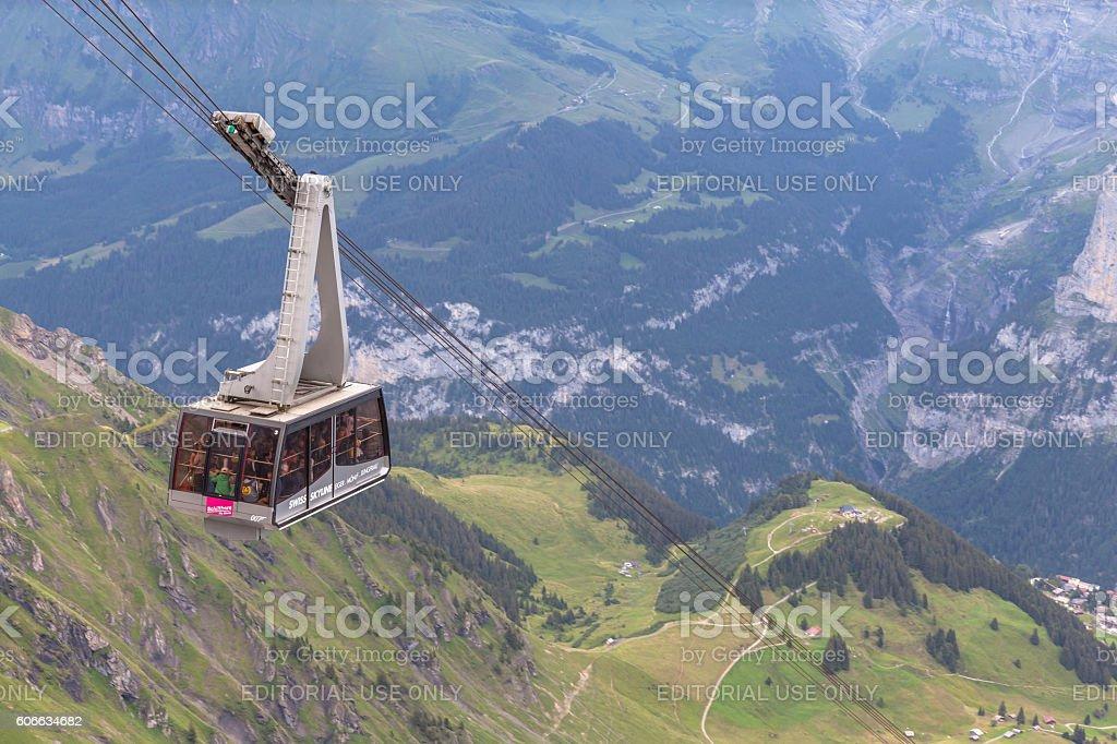 Cablecar to Schilthorn near Jungfrau stock photo