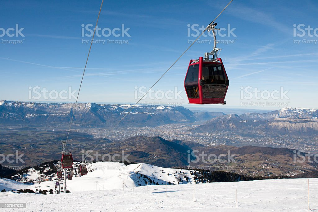 Cablecars to chamrousse in view of grenoble royalty-free stock photo