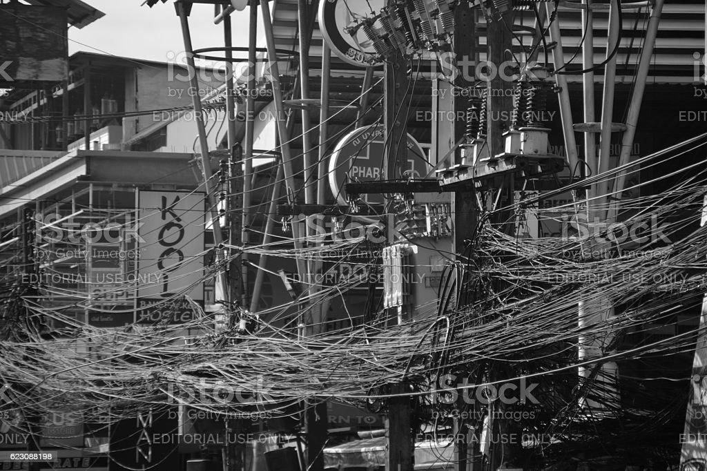 Cables along Bangla road, Patong beach, Thailand stock photo
