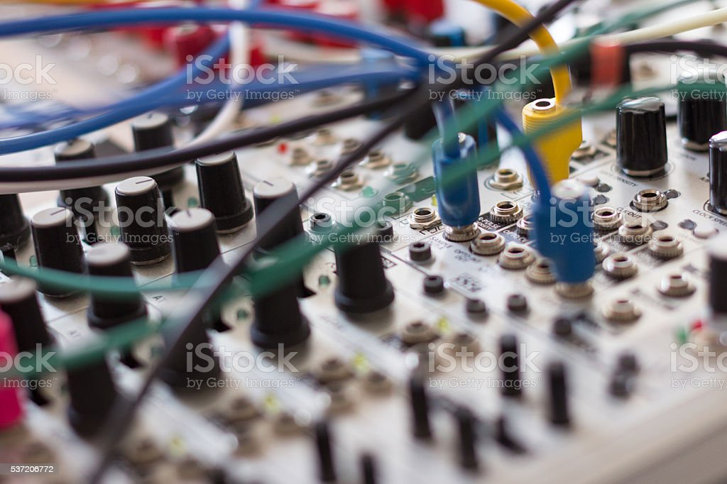 cables and electronic macro, analog synthesizer stock photo