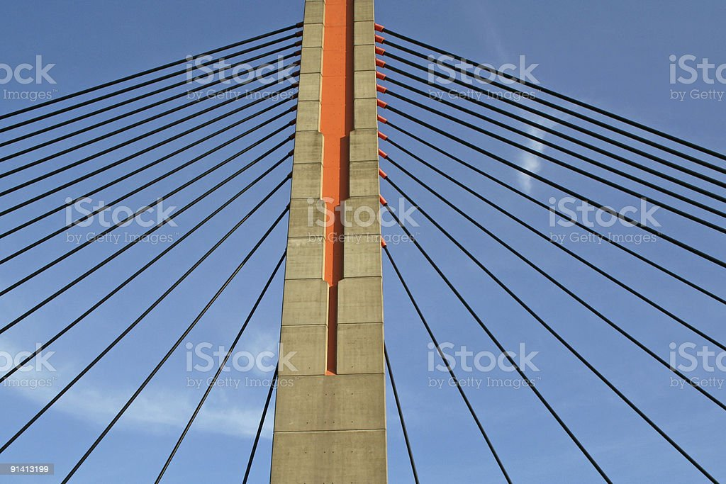 Cables and pillar of bridge # 4 royalty-free stock photo