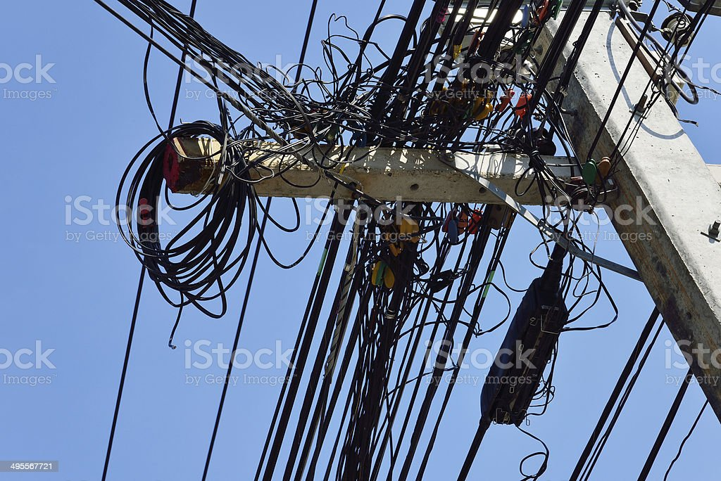 cables and wires on electricity post royalty-free stock photo