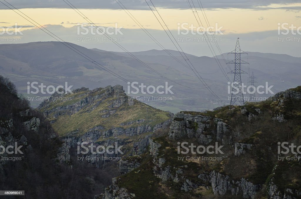 Cables in the mountain stock photo
