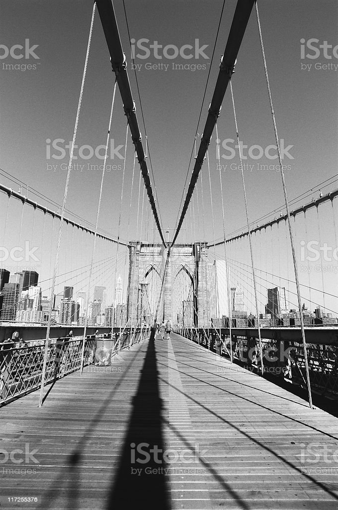 Cables of the Brooklyn Bridge royalty-free stock photo