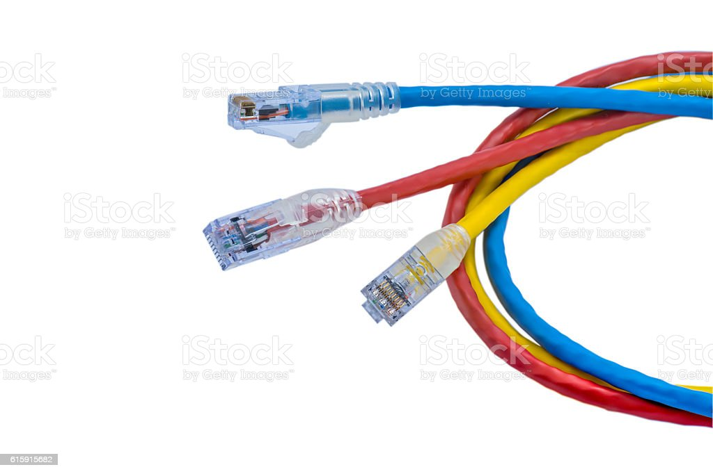 UTP cables patch cord, isolated on white background royalty-free stock photo