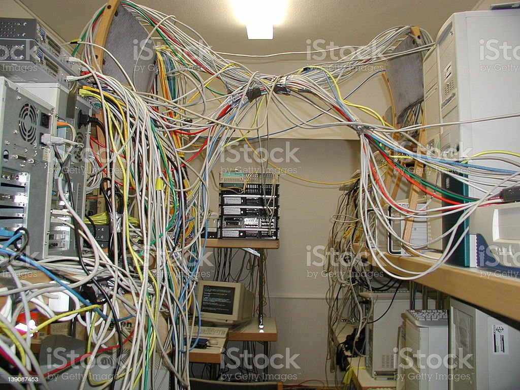 Cables, Servers, Switches stock photo