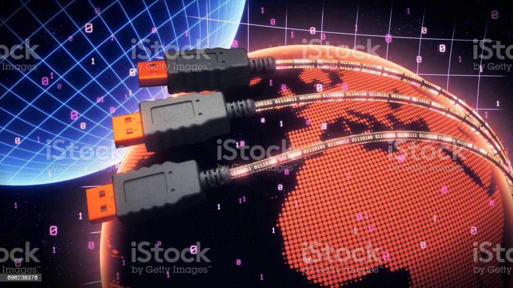 USB Cables Stylized Worldwide stock photo