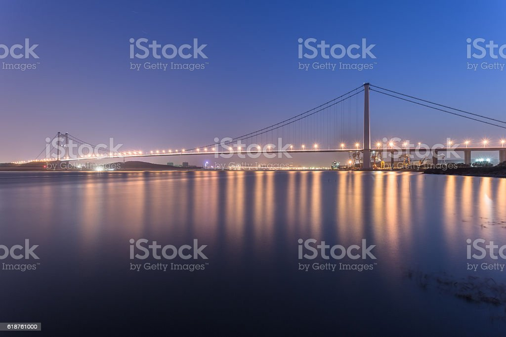 cable-stabled bridge at night stock photo