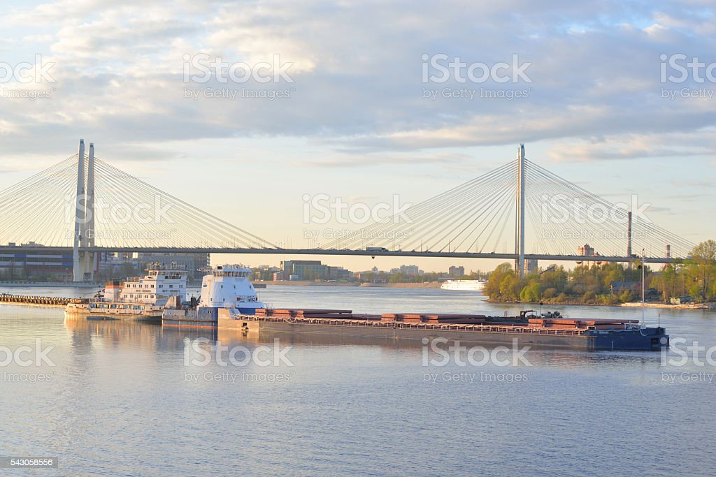 Cable-stayed bridge at sunset. stock photo