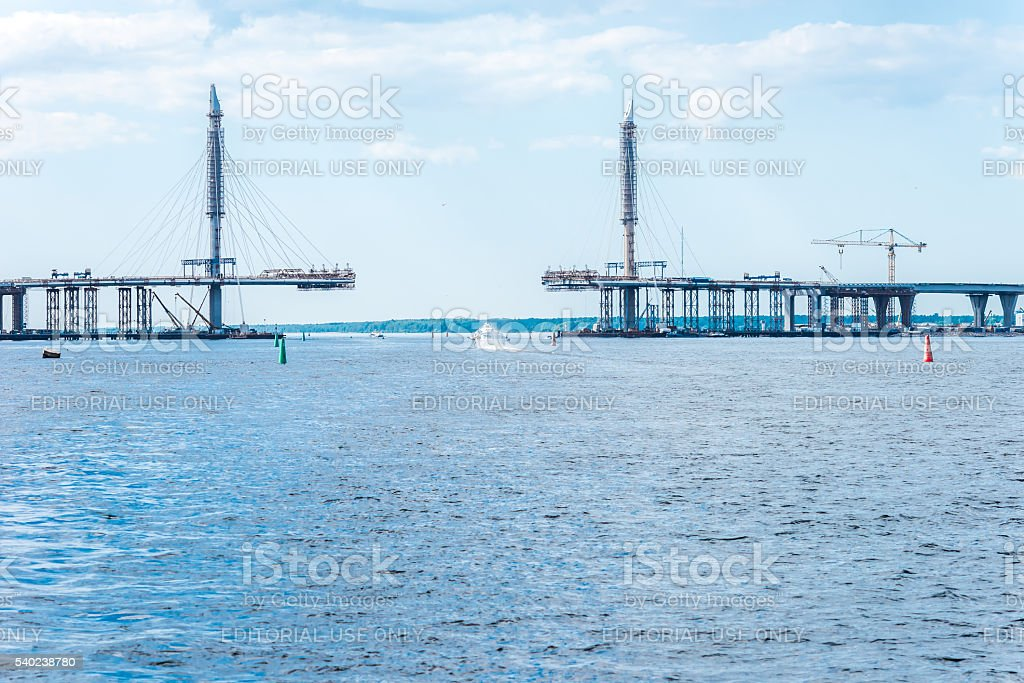 Cable-stayed bridge construction stock photo
