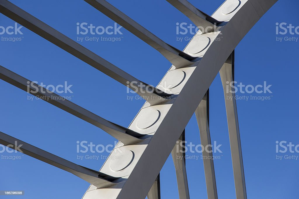 Cable-stayed bridge details royalty-free stock photo