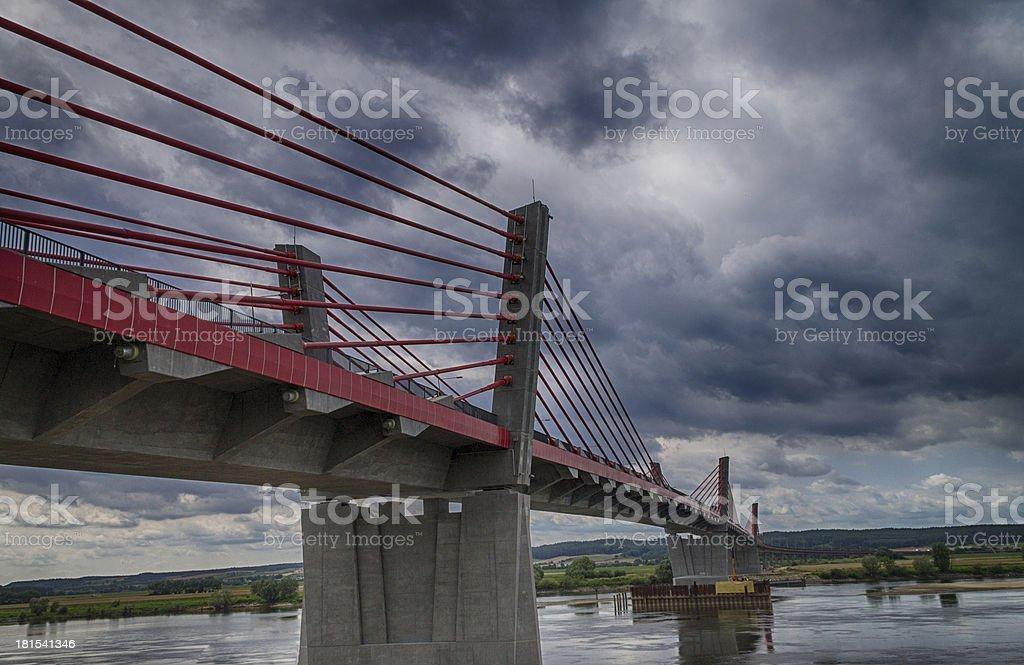 Cable-stayed bridge over the Vistula river in Kwidzyn - Poland stock photo