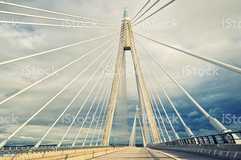 Cable-stayed bridge, view of suspension cables stock photo