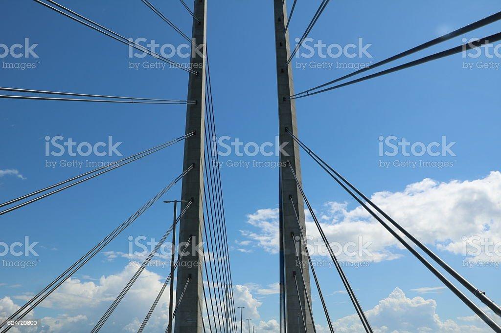 Cable-stayed construction of the Øresund Bridge, Scandinavia stock photo