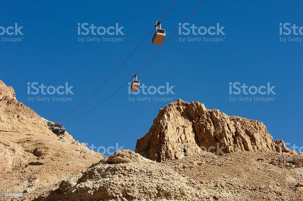 Cableway at Masada. stock photo