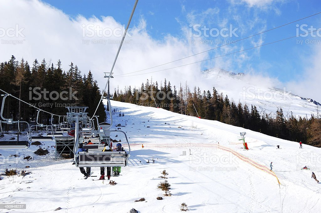 Cableway at Tatranska Lomnica, Slovakia stock photo