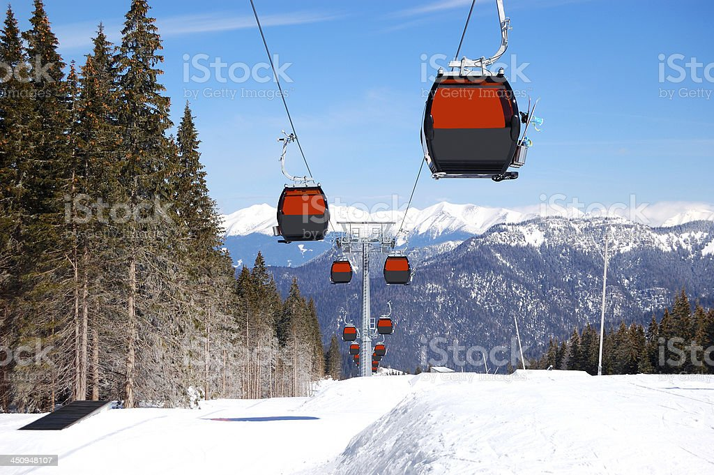 Cableway cabins at the popular ski resort in Slovakia stock photo
