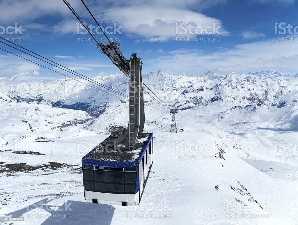 Cableway high in mountains stock photo