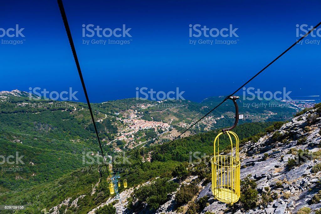 Cableway in Elba Island to monte Capanne stock photo