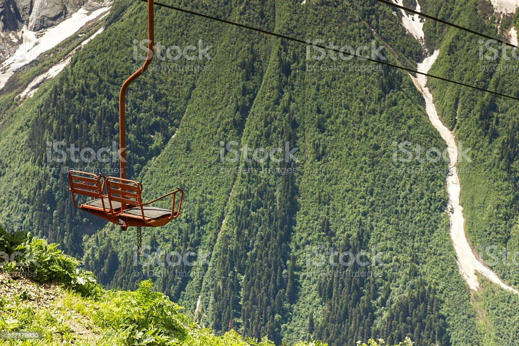 Cableway in mountains stock photo