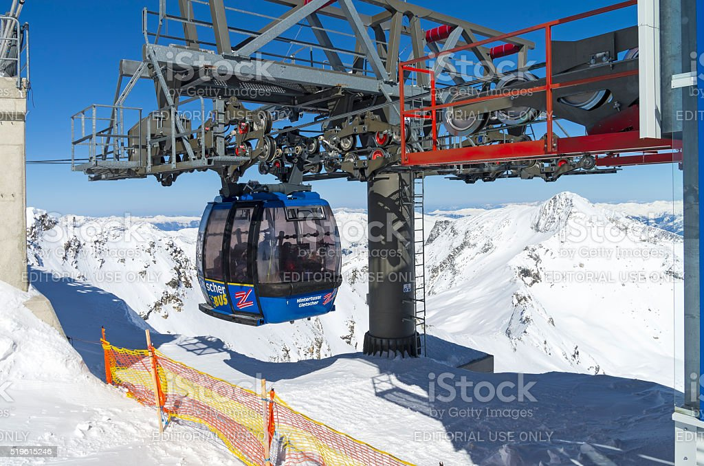 Cableway in the Austrian Alps. stock photo